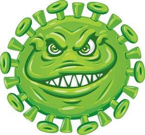 fun cartoon illustration of a flu virus with a menacing face